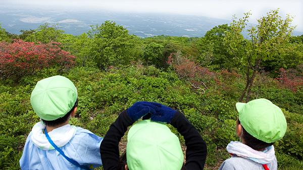 卒園登山で山から下を見下ろす子供